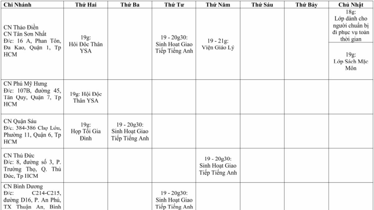 Lịch sinh hoạt hàng tuần các CN Giáo Hạt phía Nam