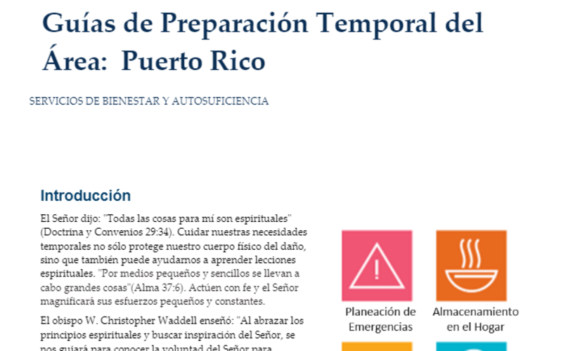 Guías de Preparación Temporal del Área: Puerto Rico