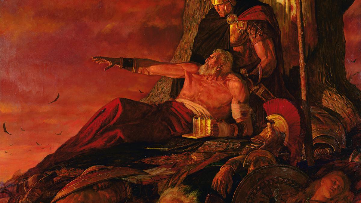 El antiguo profeta Mormón, del Libro de Mormón, contemplando la destrucción de su pueblo mientras protege los registros conservándolos a su lado.