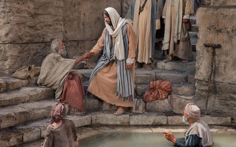 Jesucristo sirviendo a un hombre necesitado.