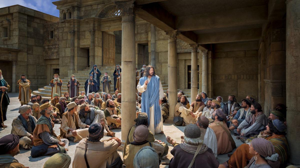 Jesus undervisar mängd