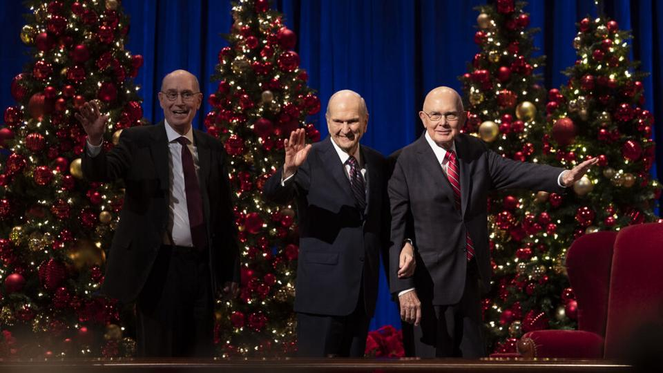 First Presidency in front of Christmas Tree
