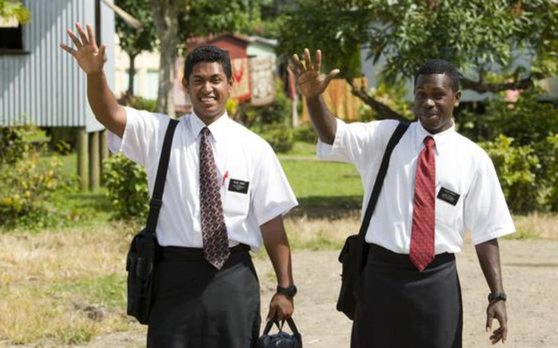 Missionaries Waving, Pacific Area, Missions
