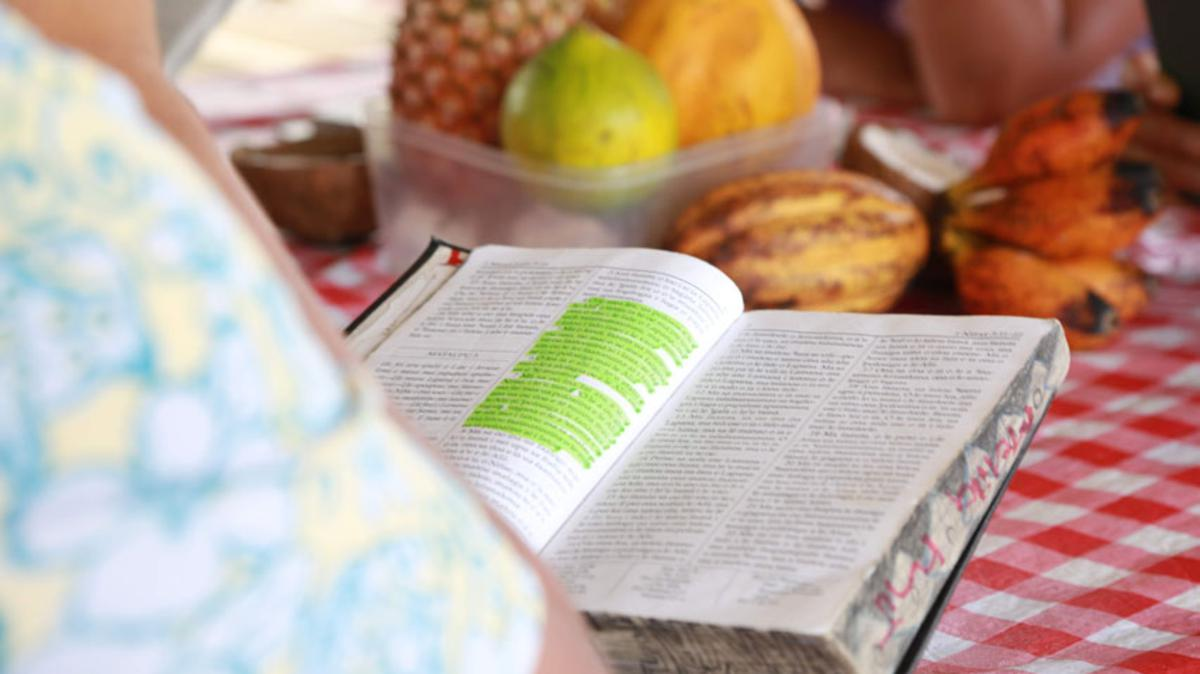 Image of woman reading The Book of Mormon in Samoan