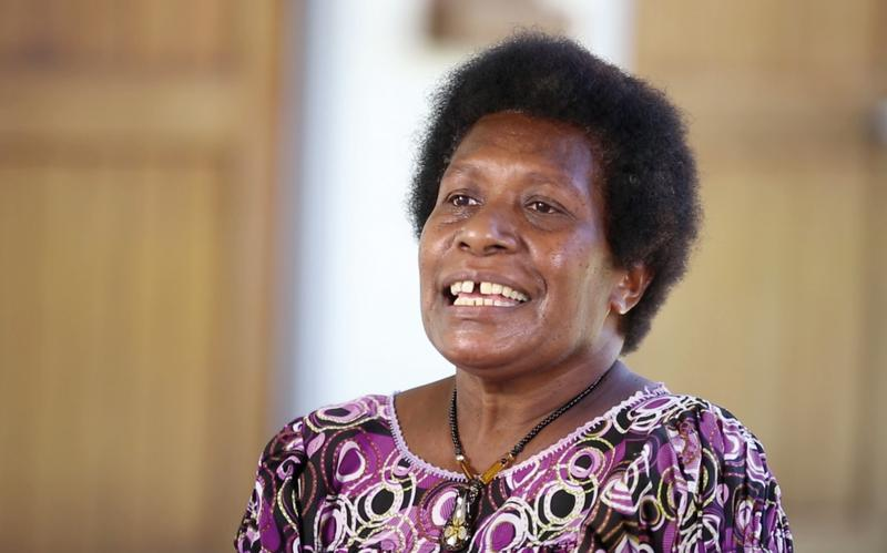 Excited member of the church in Papua New Guinea
