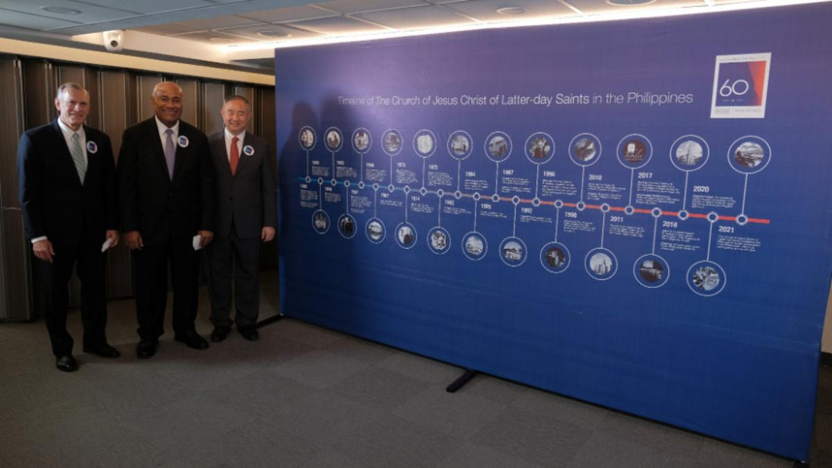 The Philippines Area Presidency pose with the Church Timeline.
