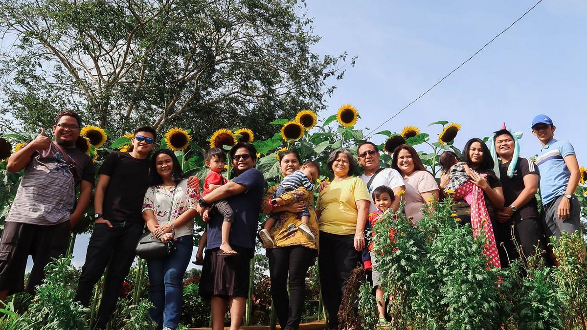 Insong family beside sunflowers