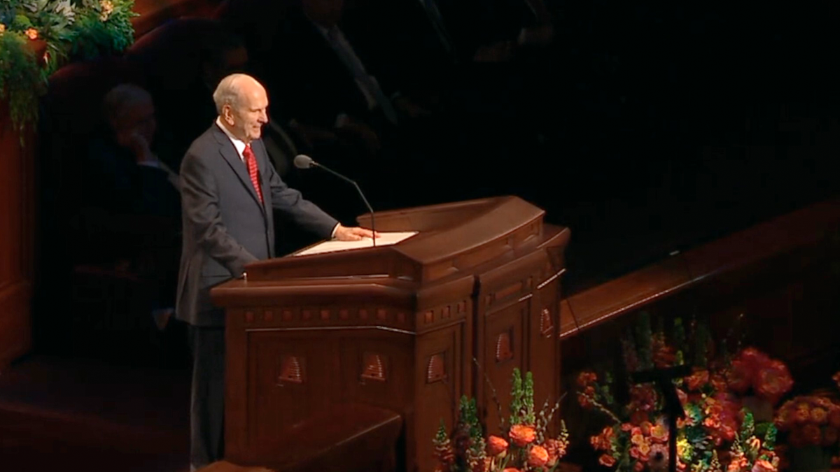 President Russell M. Nelson speaking at General Conference