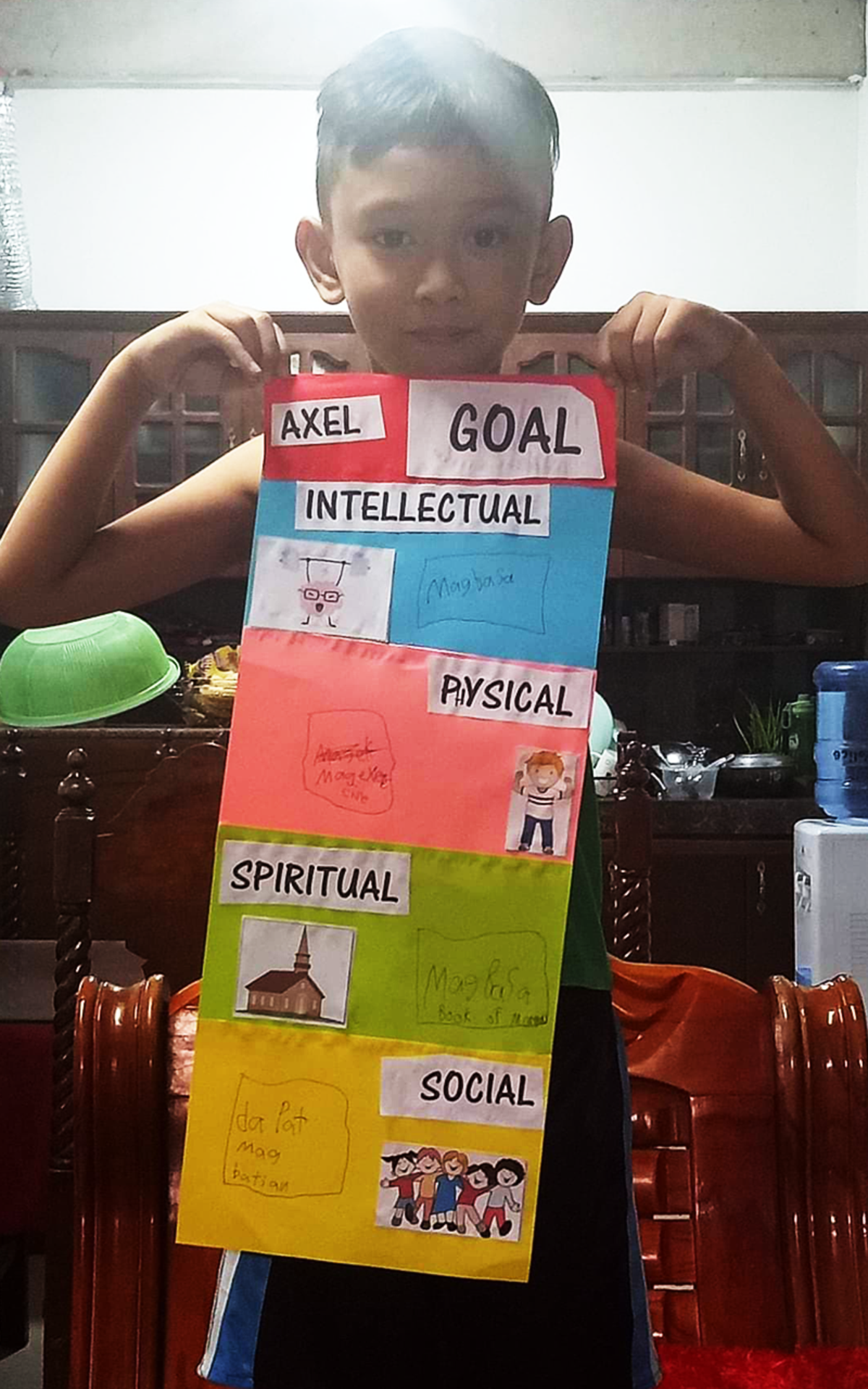 Working on the children's individual goal