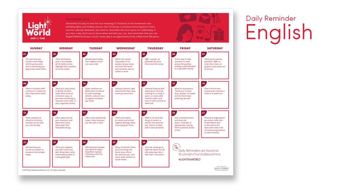 Daily Calendar - English
