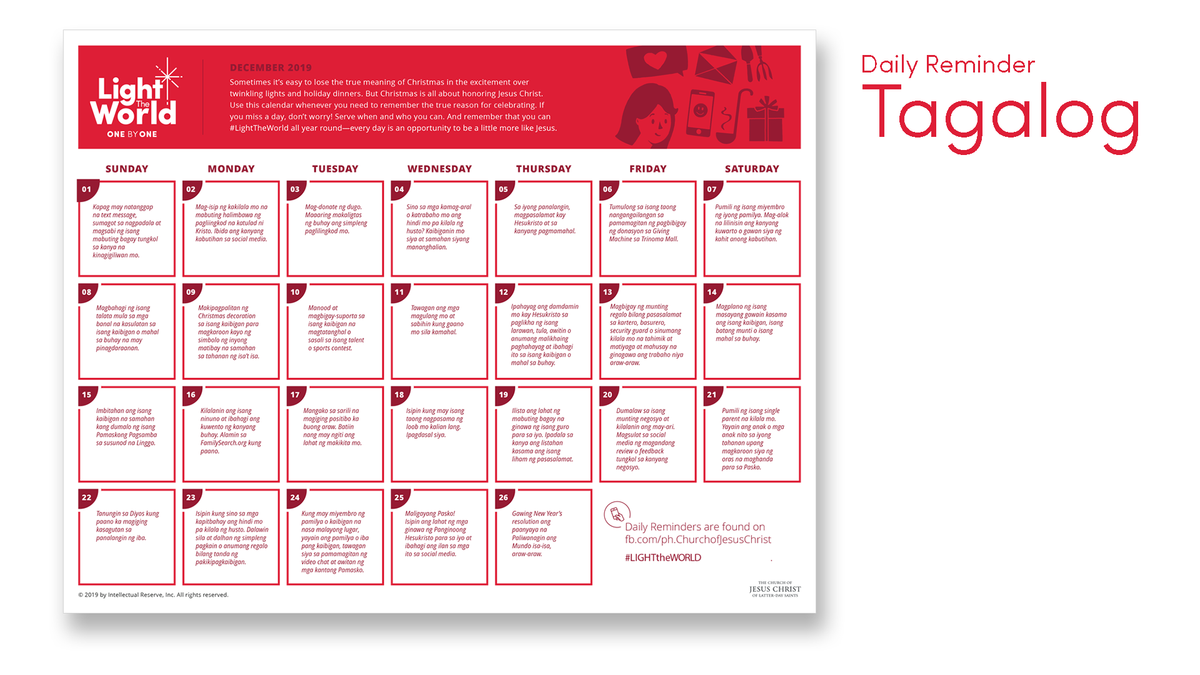 Daily Calendar - Tagalog