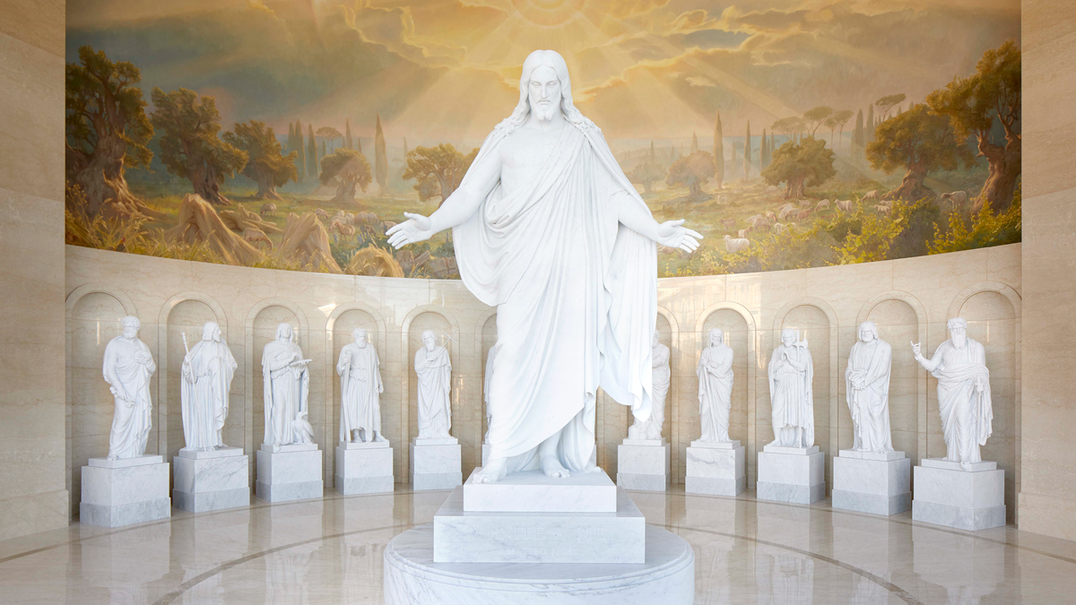 Thirteen marble statues depicting Christ and His Twelve Apostles are stunning; these adorn and beautify the Visitor's Center for the Rome Temple of The Church of Jesus Christ of Latter-day Saints.