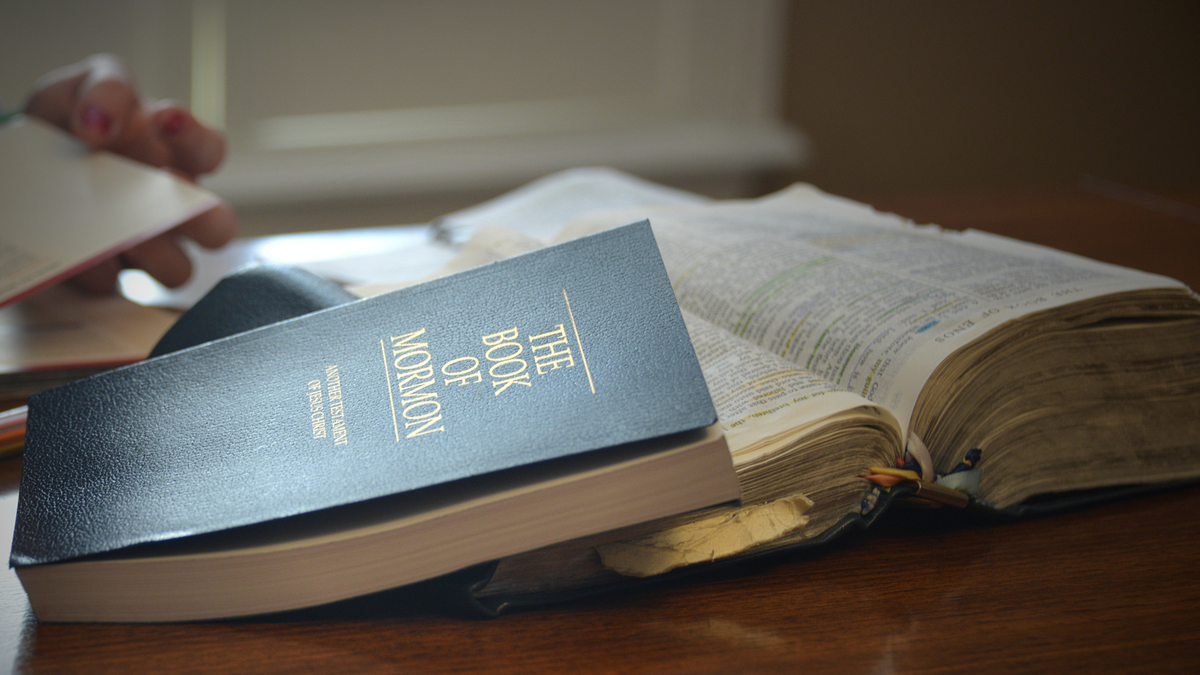 The Book of Mormon, which was translated by Joseph Smith, sitting next to the Bible.
