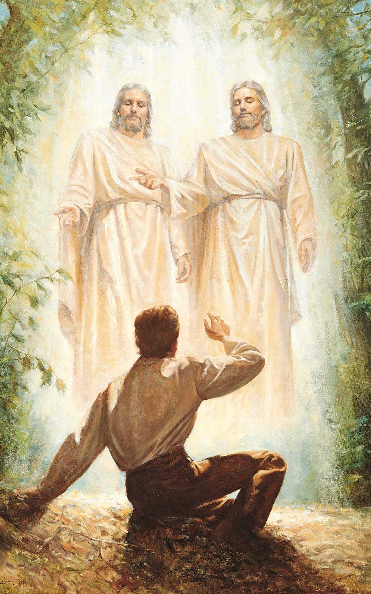 God and Jesus Christ appear to Joseph Smith, known as the First Vision.