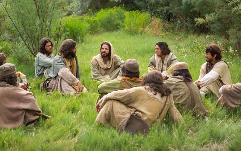 Jesucristo enseñando a sus apóstoles.
