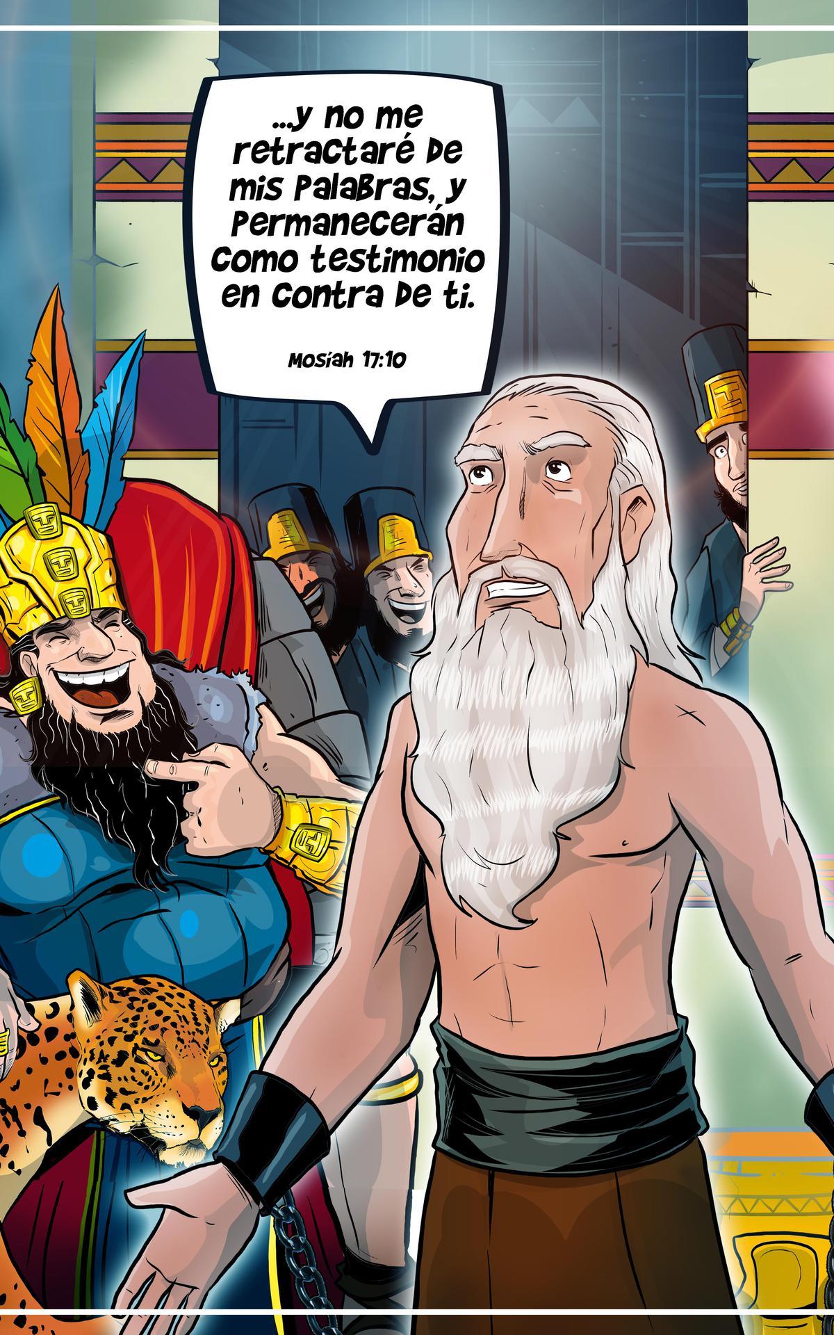 Abinadí hablando con el rey Noé
