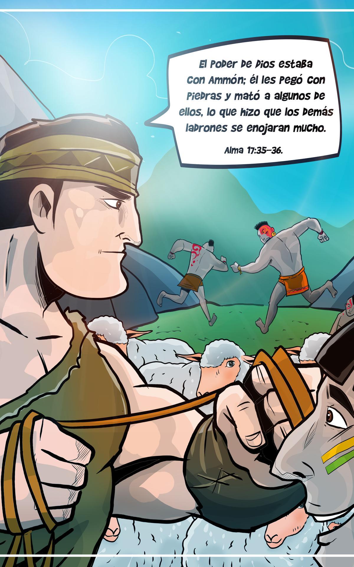 Ammon defendiendo las manadas del rey Lamoni