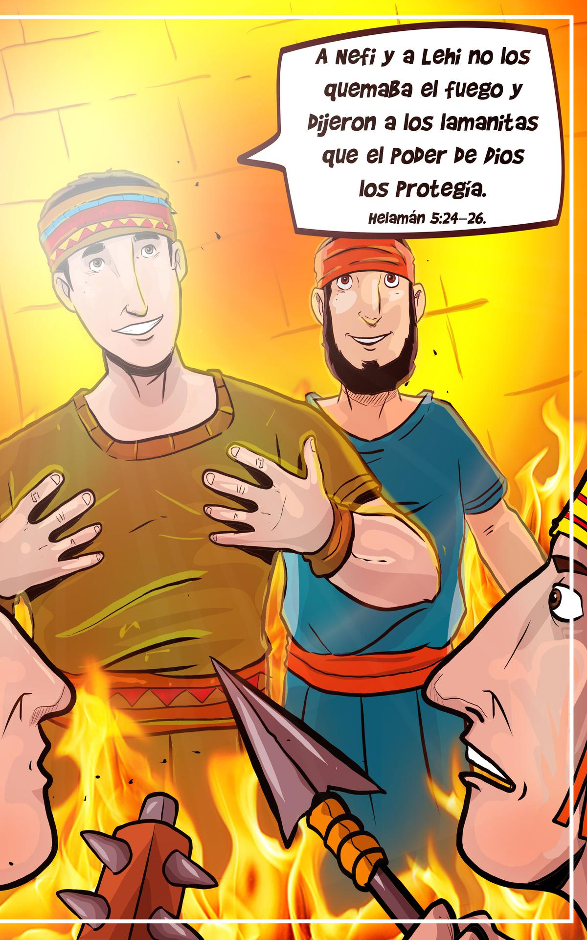 Lehi y Nefi protegidos del fuego