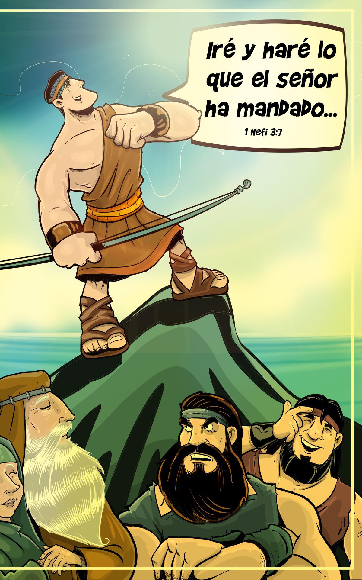 Nefi con su arco y flecha.