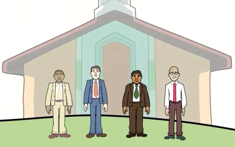 Dibujo de líderes SUD al lado de una capilla
