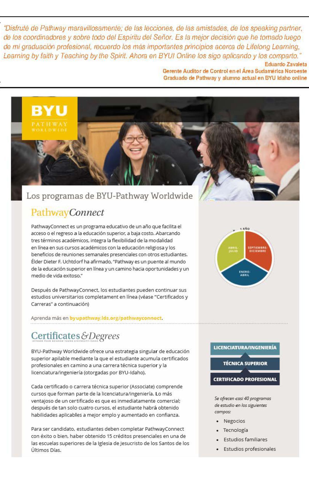 Información sobre BYU-Pathway Connect