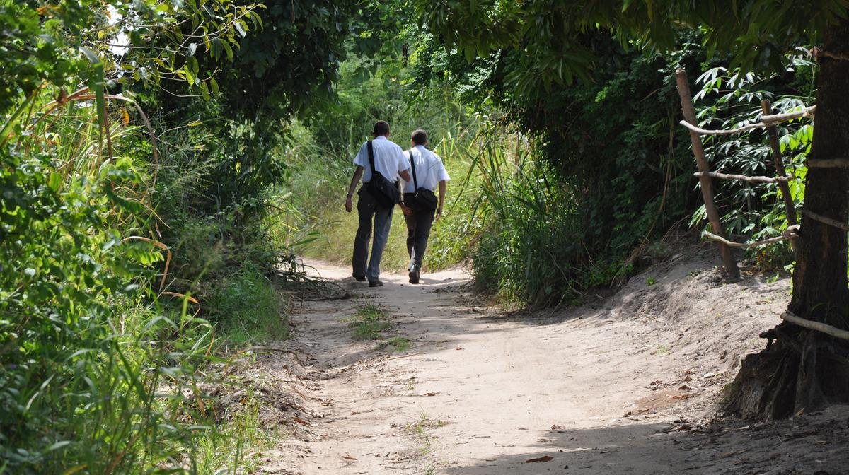Missionaries walking