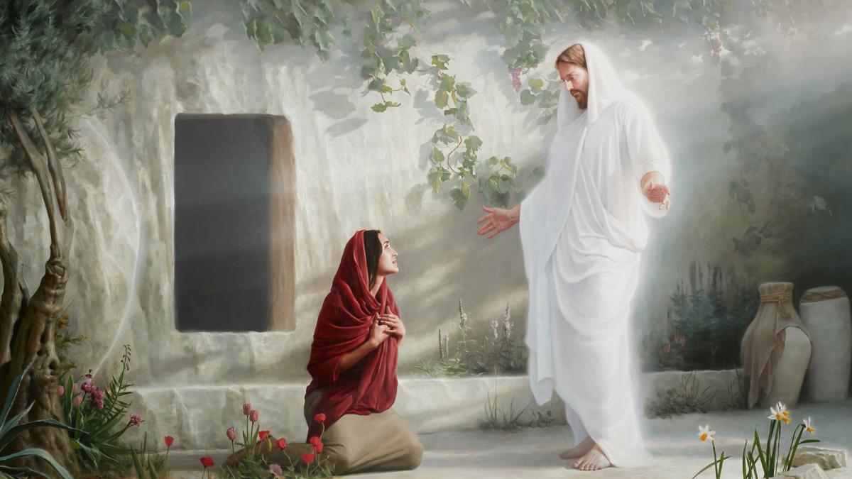 Cristo resucitado con María