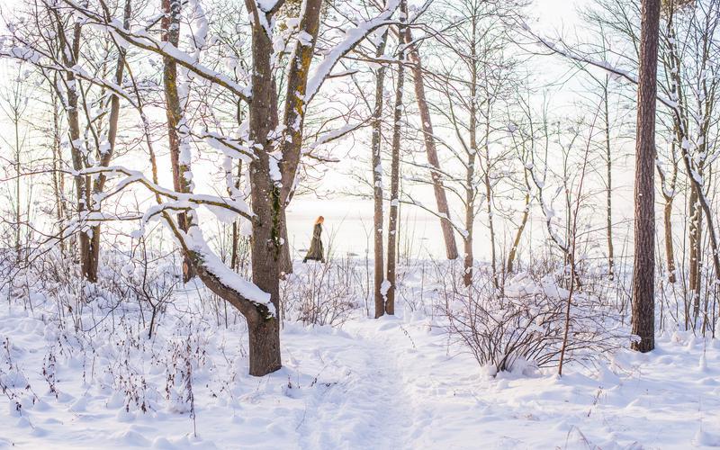 Naine lumises metsas
