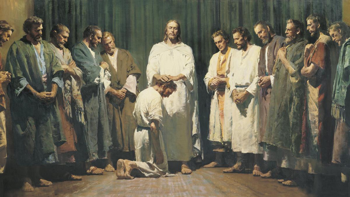 Đấng Ky Tô Sắc Phong Mười Hai Vị Sứ Đồ, tranh do Harry Anderson họa