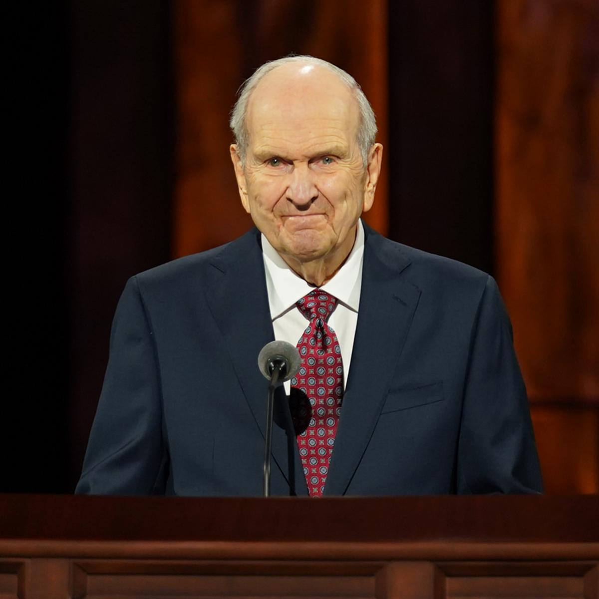 President Russell M. Nelson speaks during the opening session of the October 2020 general conference from the Conference Center Theater on Temple Square in Salt Lake City, Utah, on Saturday, October 3.