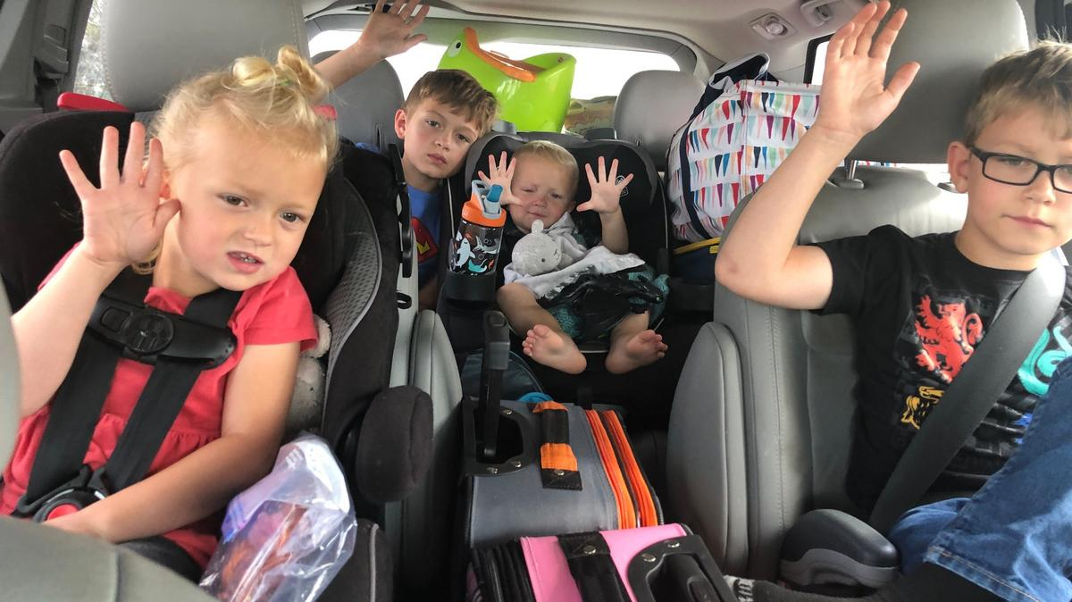 While listening to general conference in their minivan, young children in a family in Idaho raise their hands to sustain their church leaders (October 3-4, 2020). A sustaining vote is taken every general conference to give Latter-day Saints around the world a chance to raise their hands to show their support of worldwide church leaders.
