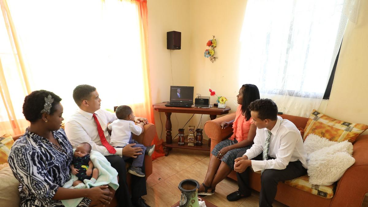 A family from the Dominican Republic watches general conference together (October 3-4, 2020). Latter-day Saints and their friends from all over the world tune in to this event to gain hope and inspiration.
