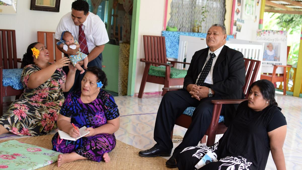A family in Samoa watches general conference from their home on Saturday, October 3, 2020.