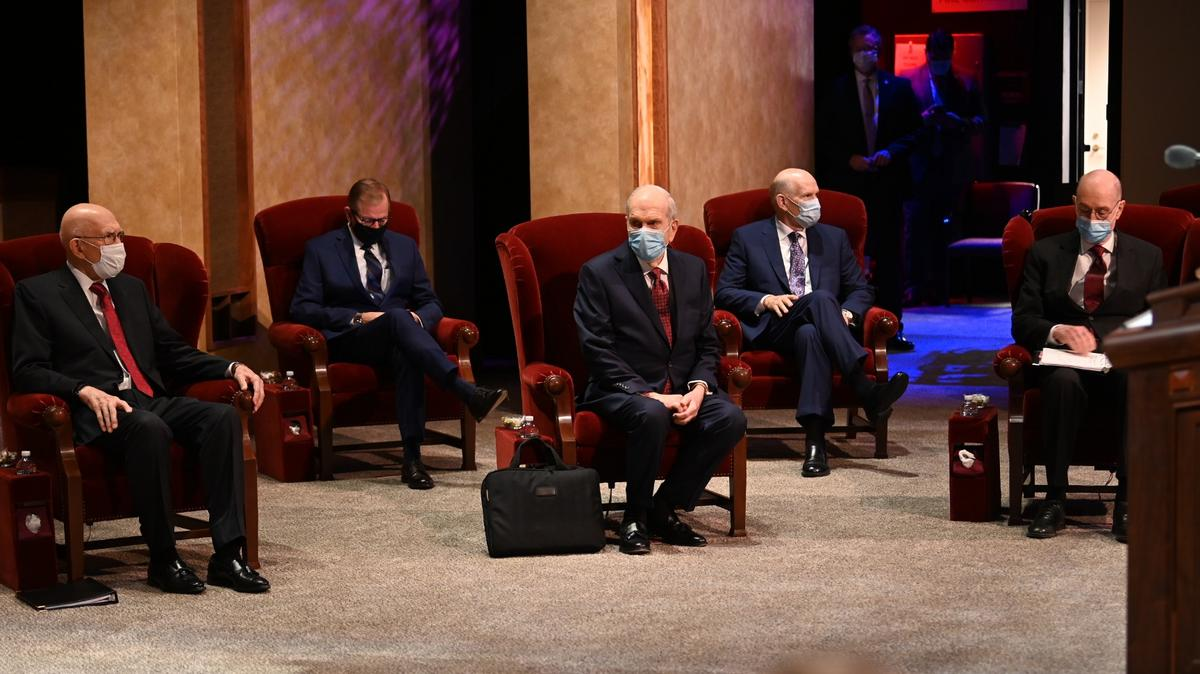 Members of the Quorum of the Twelve Apostles wait for the broadcast to start at the Conference Center Theater on Temple Square, October 2020 conference (October 3-4, 2020)