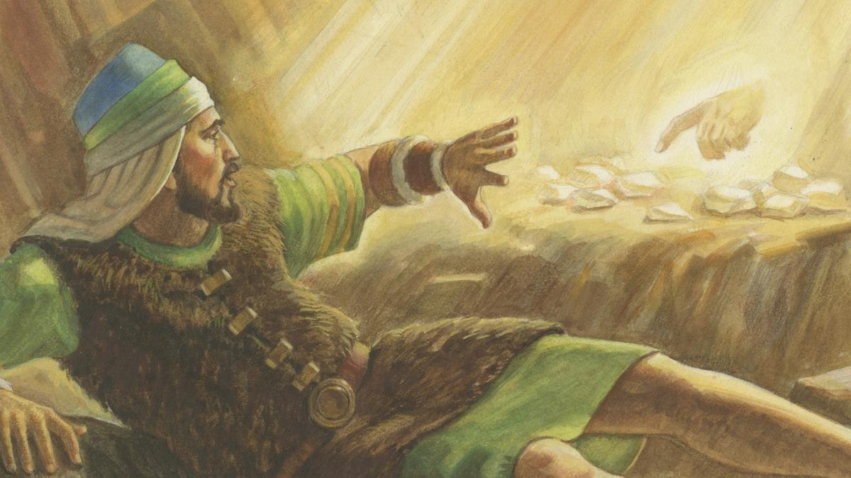 Anh trai của Gia Rết nhìn thấy bàn tay của Chúa chạm vào các viên đá mà ông đã chuẩn bị.