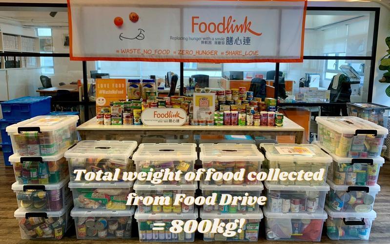 教會與膳心連共同組織的食物募捐運動,收集到近一噸的食物