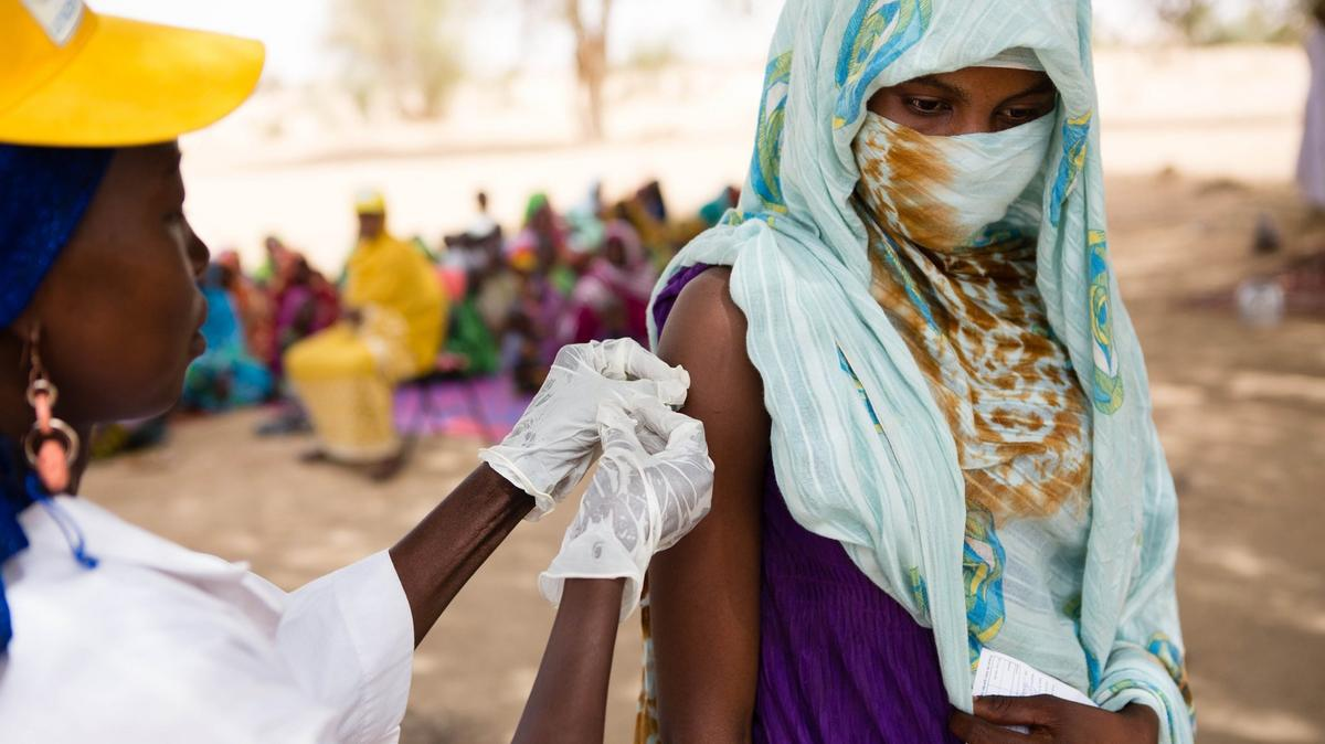 Latter-day Saint Charities has supported global immunization initiatives led by UNICEF and the WHO. Here, a woman receives a vaccination in Chad.