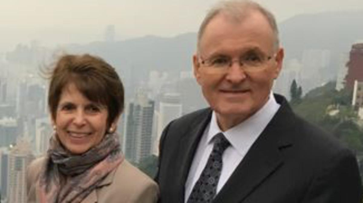 Elder and Sister Funk on Victoria Peak in Hong Kong.