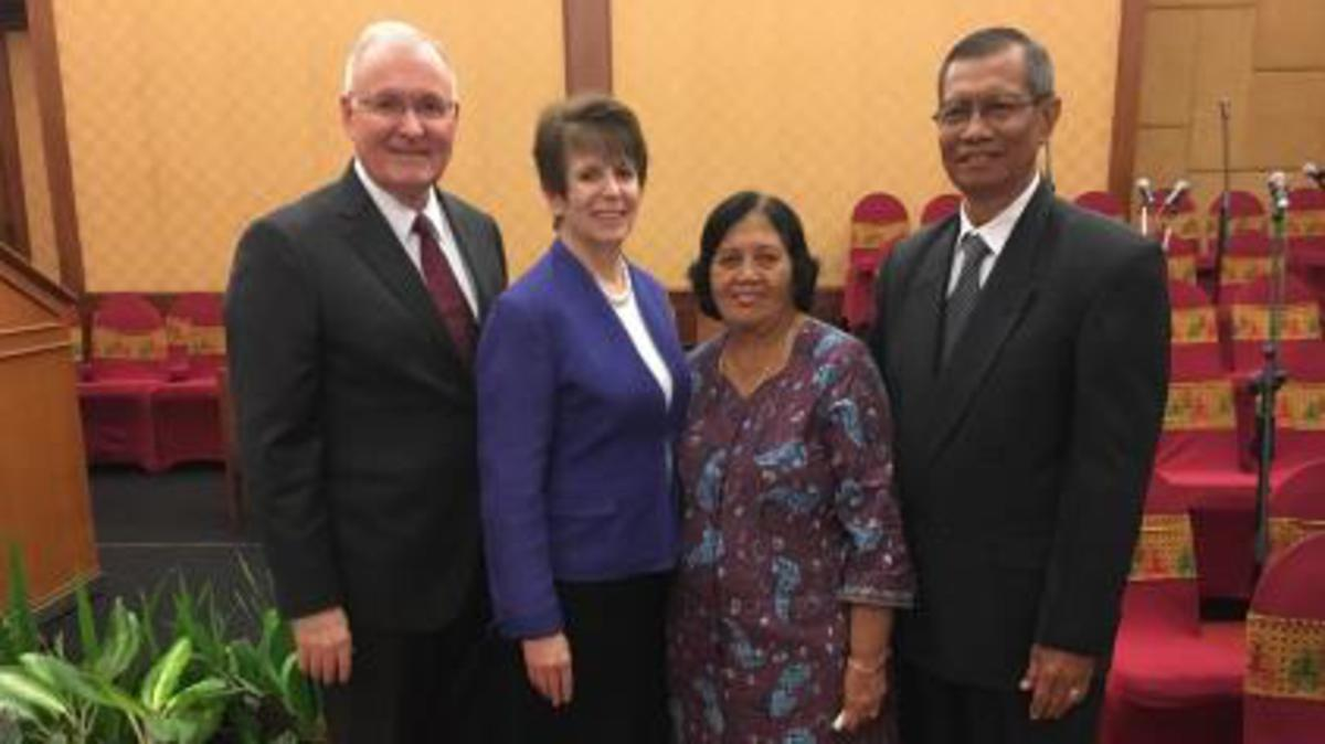 Elder and Sister Funk with Brother and Sister Samad from the Surakarta Indonesia Stake.