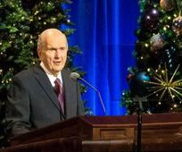 President Russell M. Nelson of The Church of Jesus Christ of Latter-day Saints speaks during the First Presidency's Christmas devotional at the Conference Center in Salt Lake City on Sunday, December 2, 2018. Photo by Qiling Wang, courtesy of Church News. 2020 Deseret News Publishing Company.
