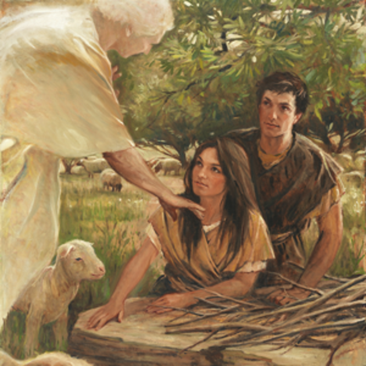 An Angel appears to Adam and Eve