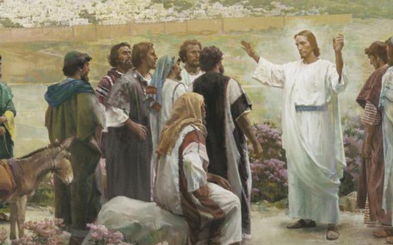 Jesucristo enseñando a los doce apóstoles.