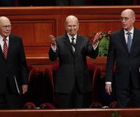 President Nelson, Elder Eyring, Elder Oaks