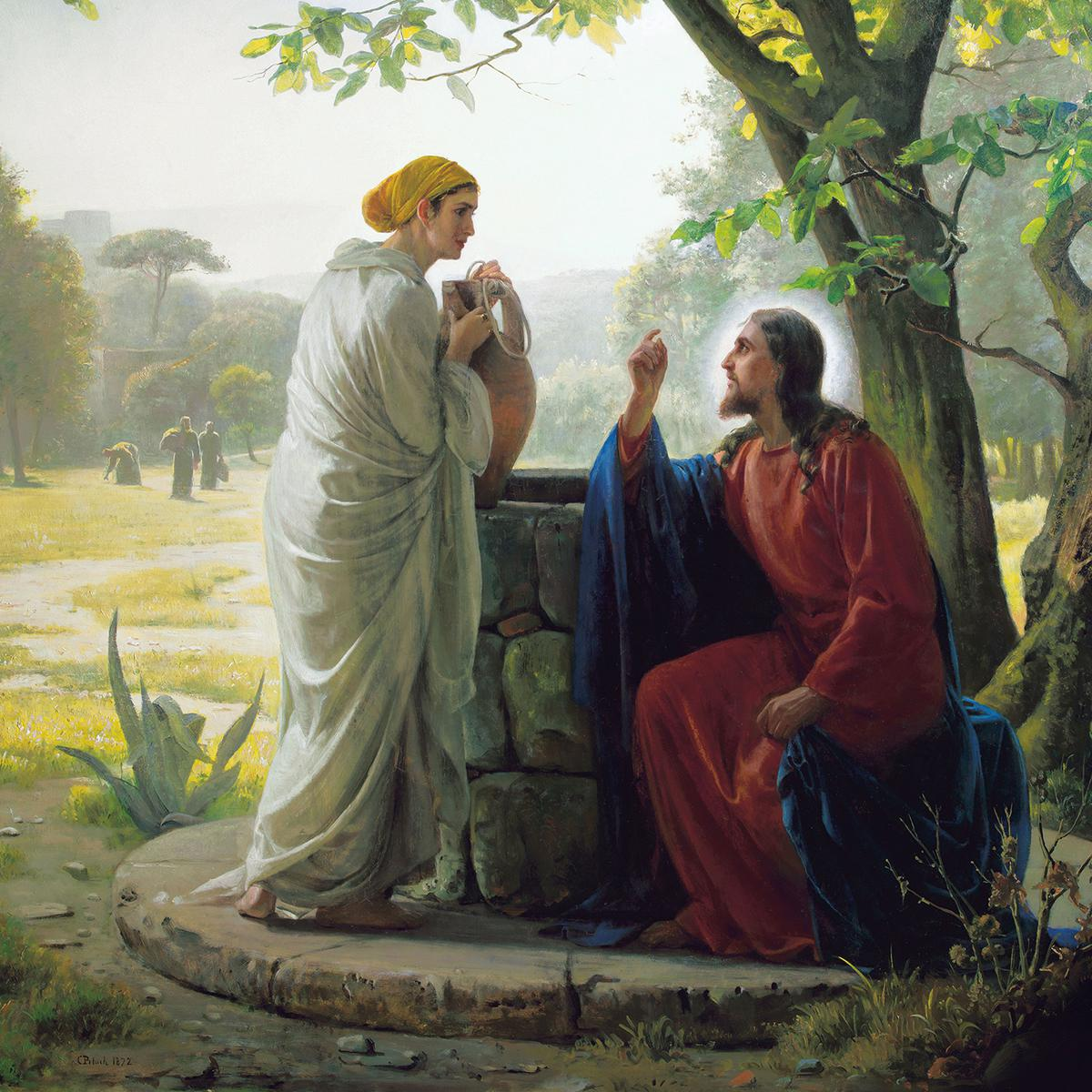 Jesus and woman at the well of Bethesda