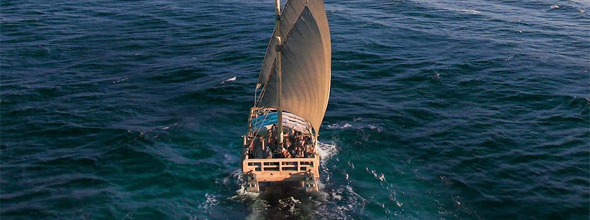 Nephi's schip op het water.