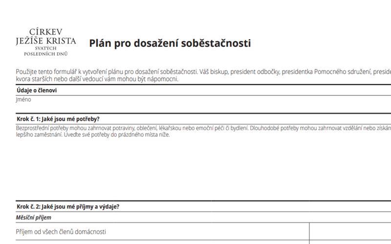 Dokument Plán pro dosažení soběstačnosti
