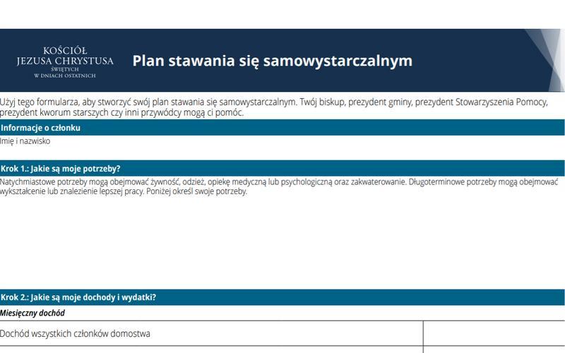 Plan stawania się samowystarczalnym — Dokument