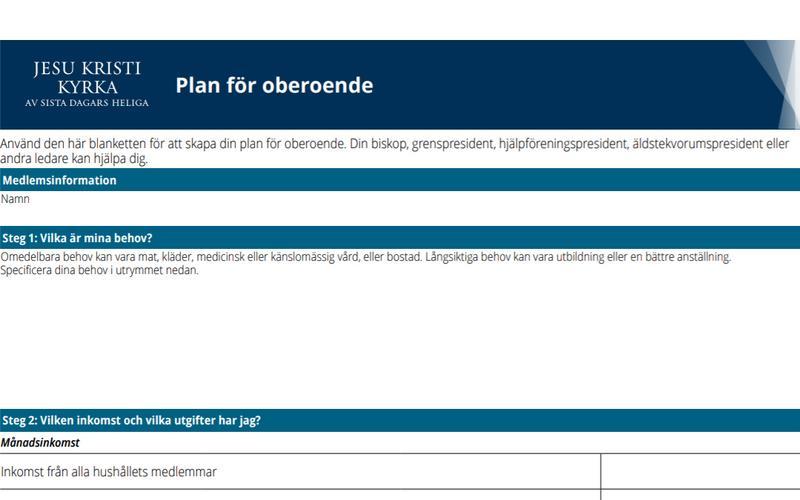Dokument med plan för oberoende