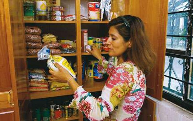 Woman doing food storage
