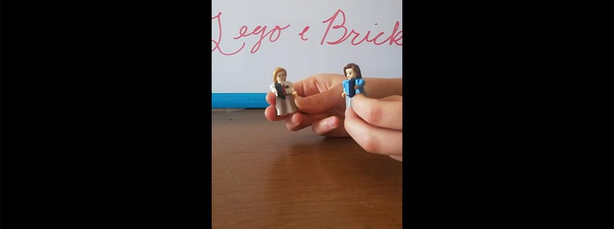 two Lego minifigures that are customised as sister missionaries